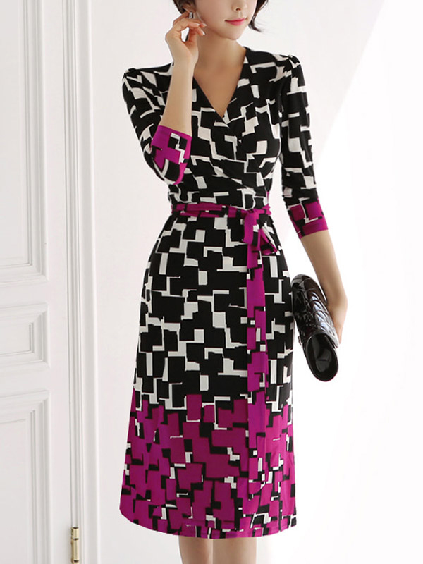 Elegant Contrast Color Plaid Tie Wrap Dress