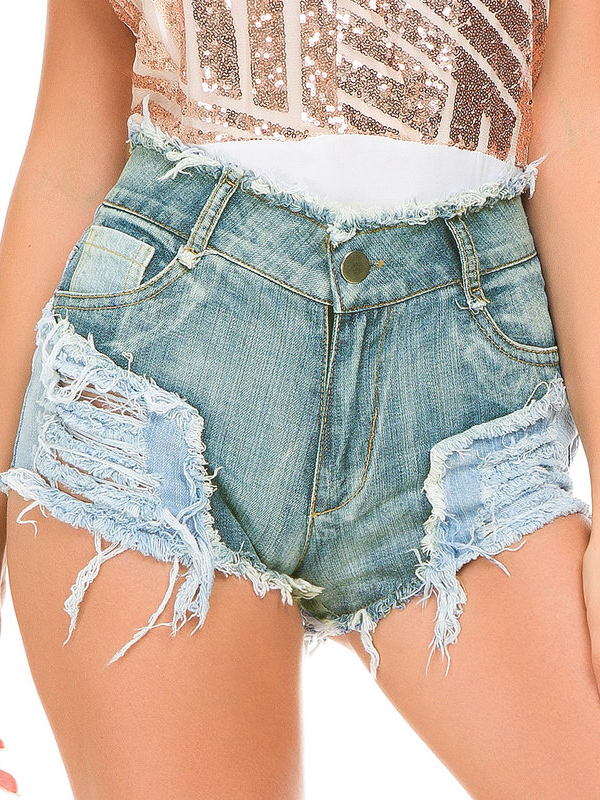 Hot Sale High Waisted Ripped Denim Shorts