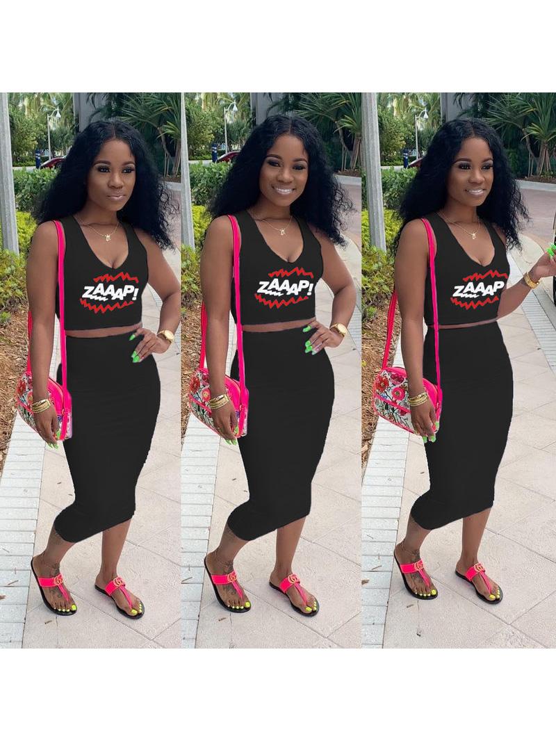Deep V Neck Letter Black Two Piece Skirt Sets