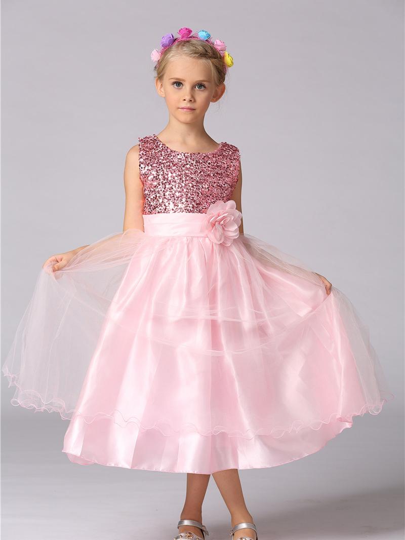 Fashion Sequins Stereo Flower Long Girl Dress