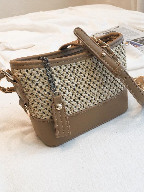 Trendy Weaving Patchwork Metal Chain Women Shoulder Bag
