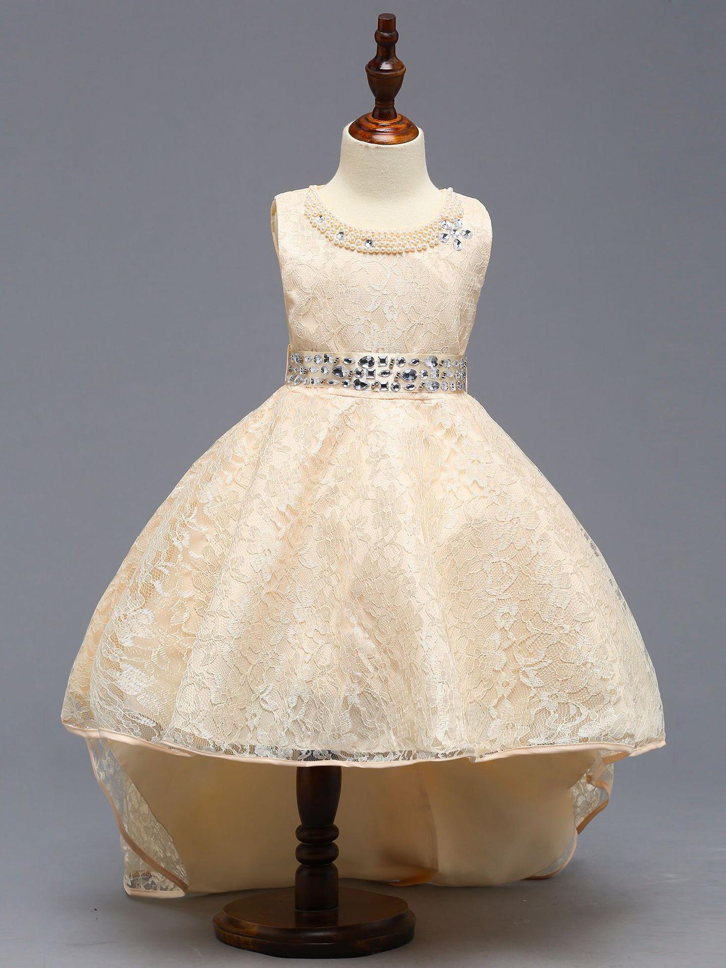 Trendy Lace Short Sleeve Rhinestone Decor Girl Dress