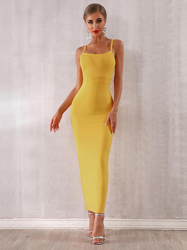 Sexy Spaghetti Strap Solid Color Maxi Dress