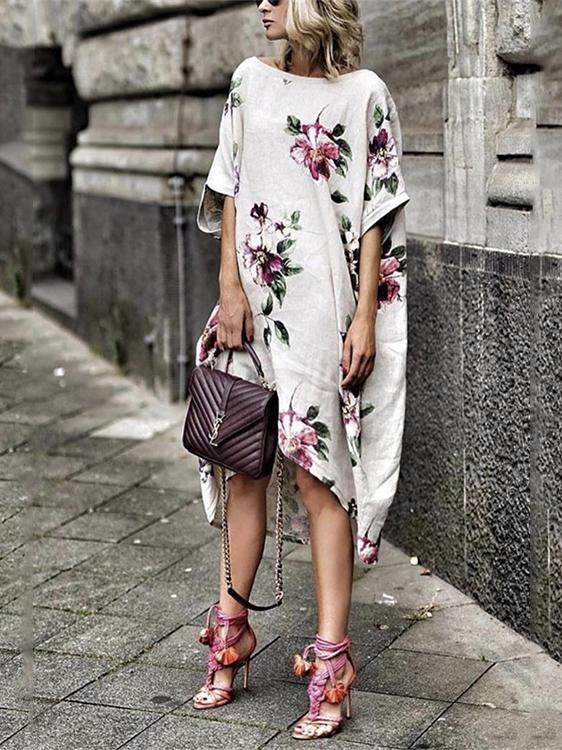 Leisure Short Sleeves Flower Printed Dress For Women
