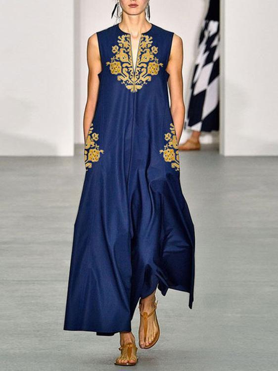 Casual V Collar Sleeveless Printed Ladies Dress