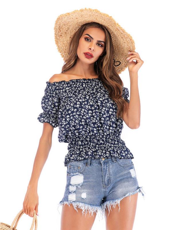 Boat Neck Elastic Waist Women Floral T-Shirt