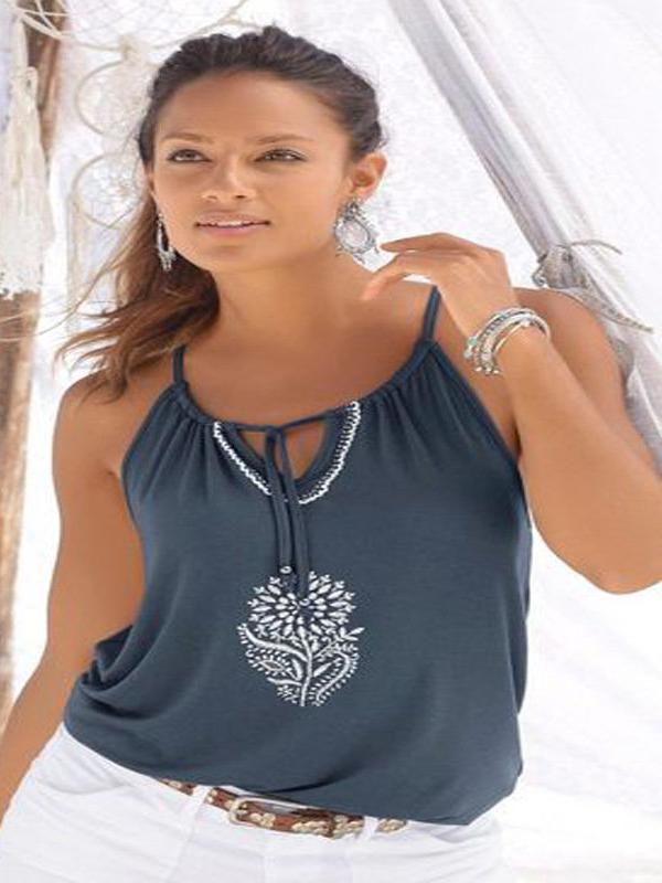 Summer Printed Lace Up Off Shoulder Camisoles