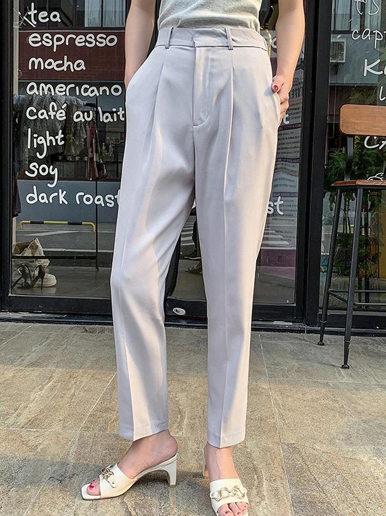Simple Design Solid Pencil Trouser For Women