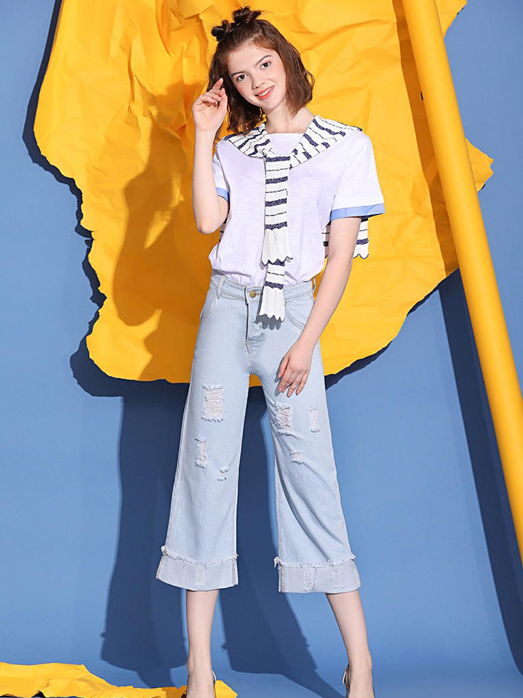 Striped Scarf Patchwork Tee With Hole Denim Pants