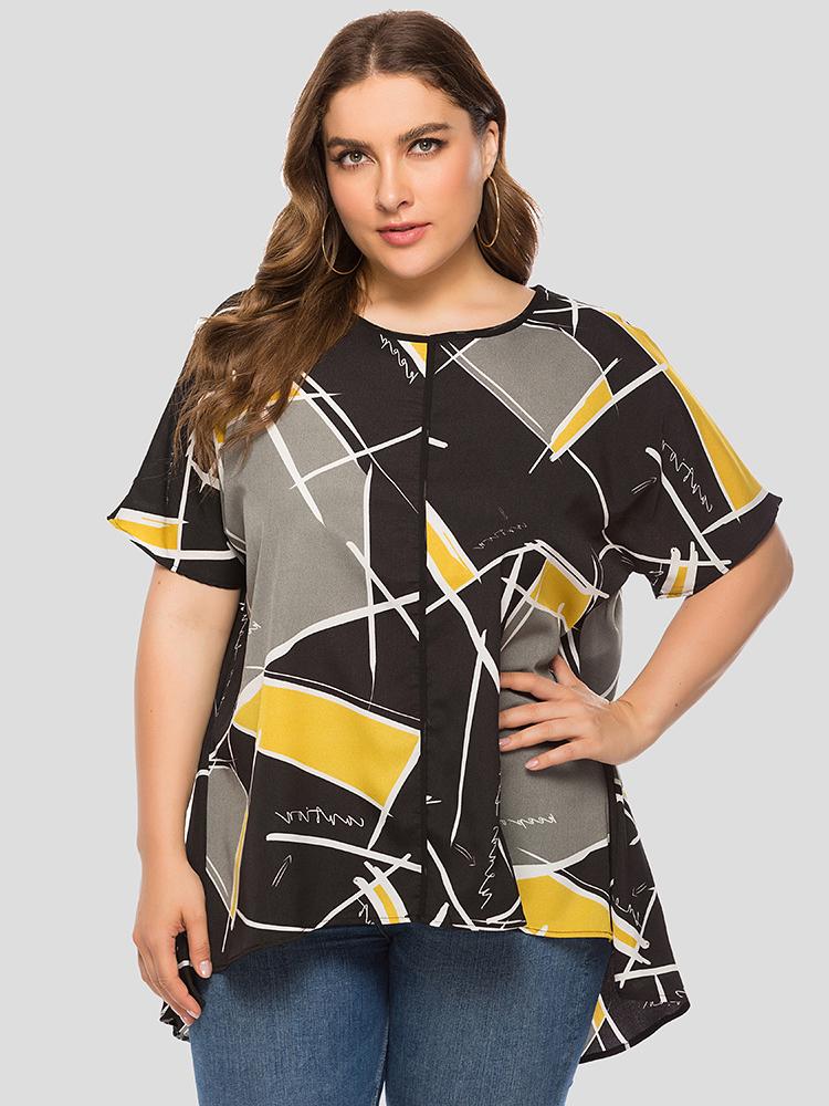 Plus Size Geometric Printed Loose T-Shirt