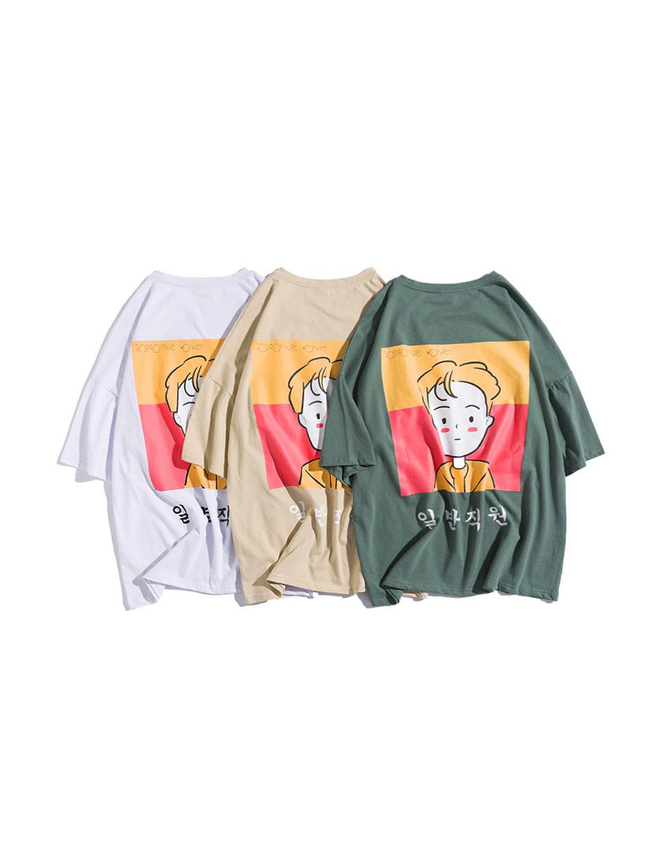 Korean Style Cartoon Printed Cotton T-shirt