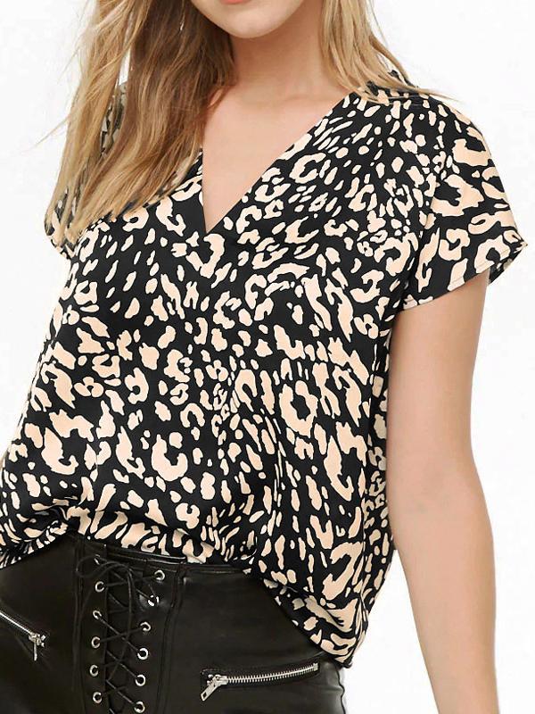 Trendy Leopard V Neck T-Shirt For Women