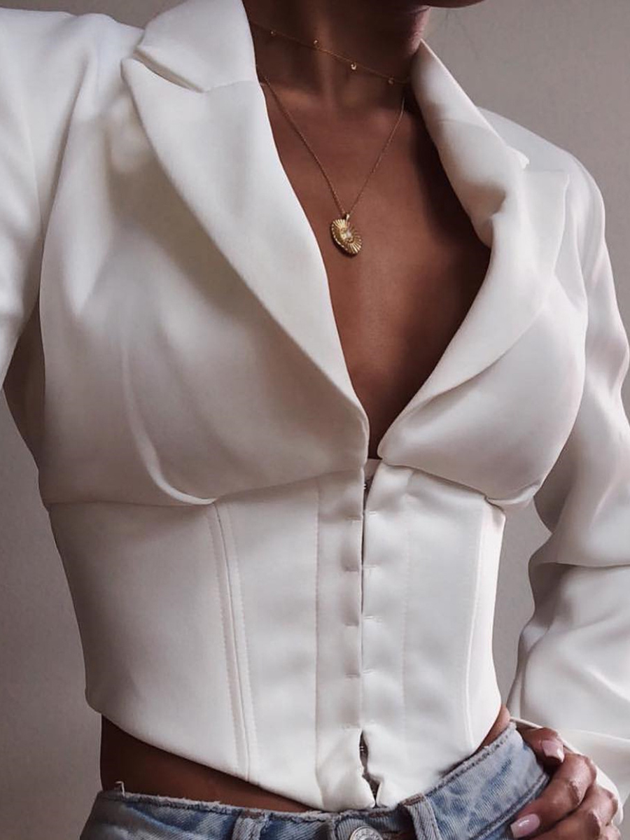 Deep V Neck Single-Breasted Fitted White Blouse