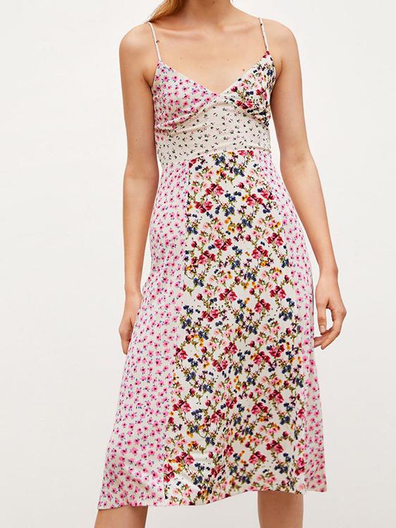 Euro V-neck Patchwork Floral Sleeveless Dress