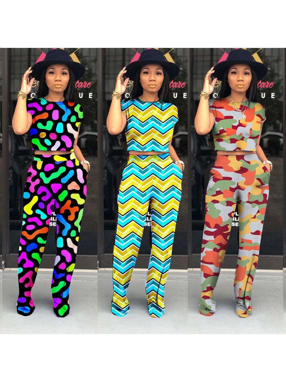 Crew Neck Contrast Color Printed Women Sets
