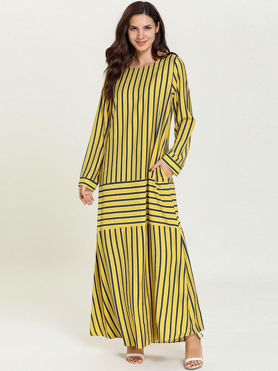 Plus Size Striped HiddenPocket Maxi Dress