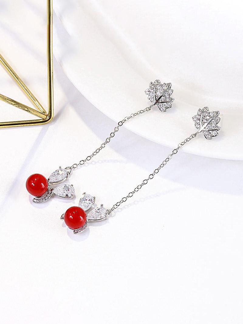 Diamond Leaf Shape Red Beading Chain Earrings