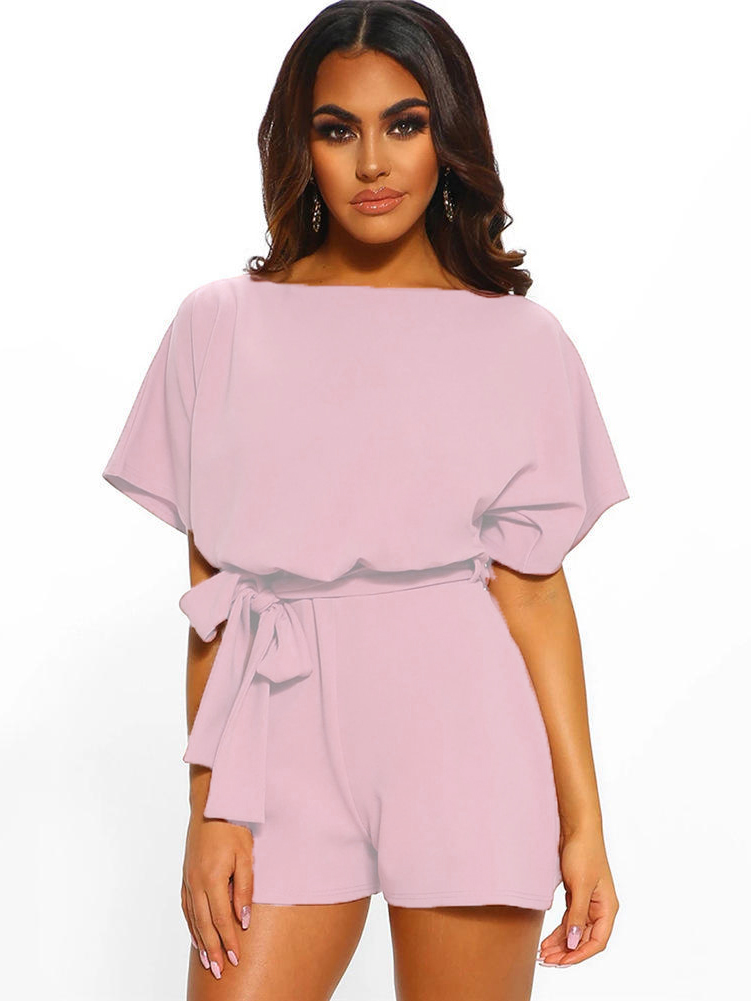 Matching Solid Color Tie Wrap Romper For Women