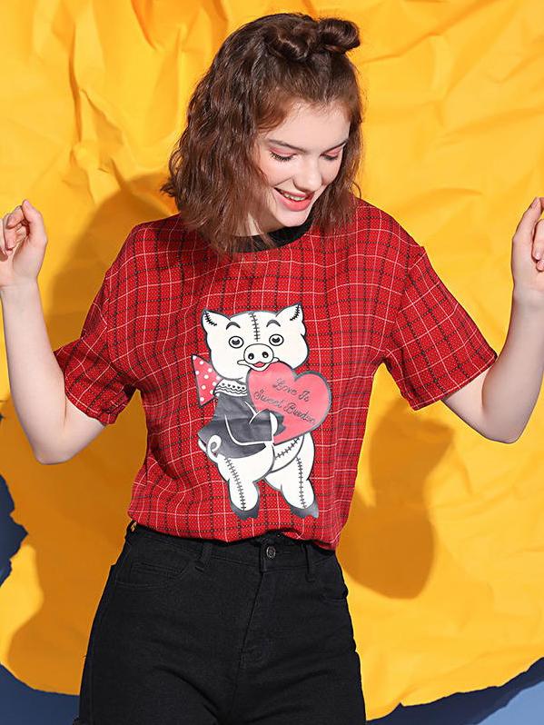 Cute Cartoon Pig Round Collar Plaid T-Shirt