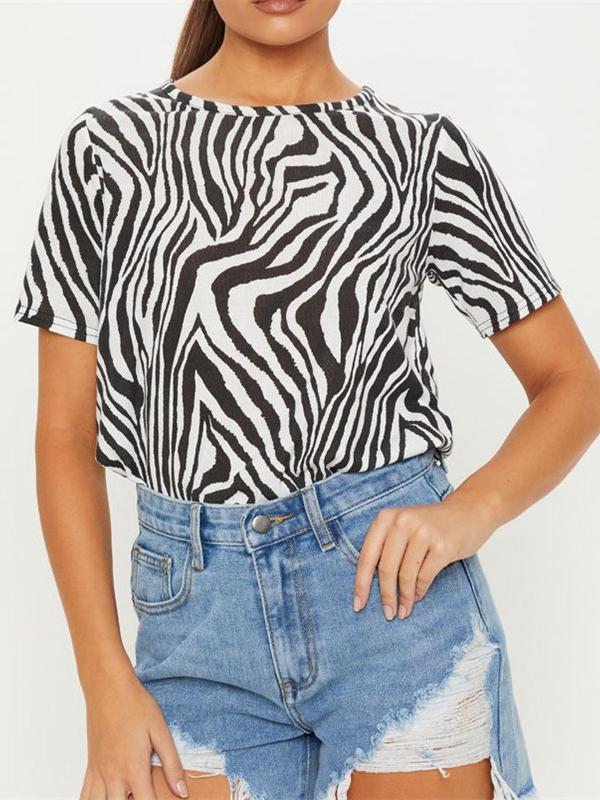 Zebra Printed Women Short Sleeve T-Shirt