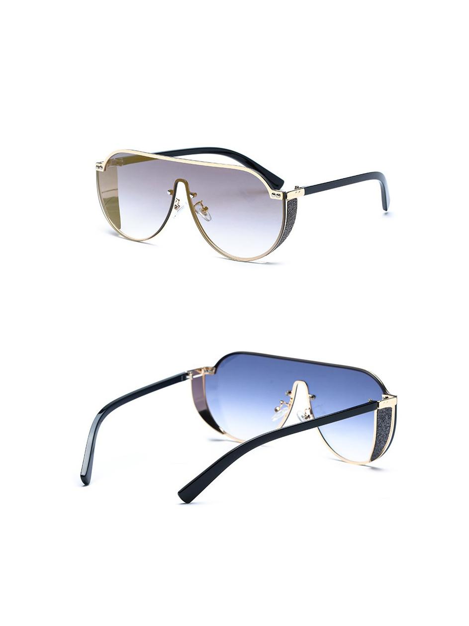 Metal Frame Connected Lenses Sunglasses For Men