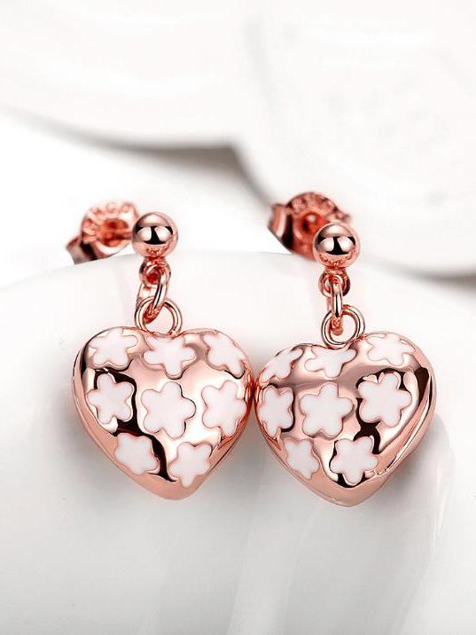 Heart Shape Metal Splicing Hollow Out Earrings
