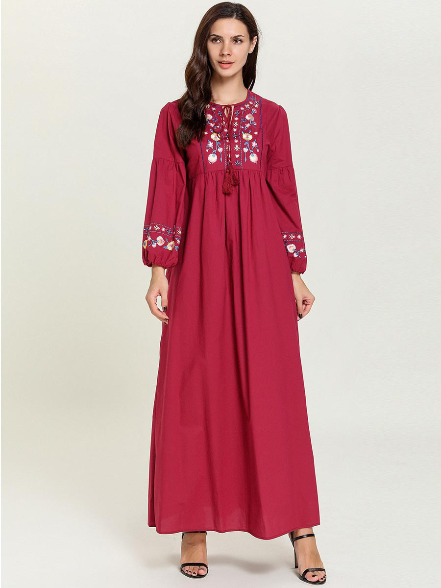 National Style Embroidery Plus Size Maxi Dress