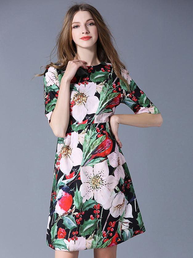 Stylish Crew Neck Floral Short Sleeves Dress