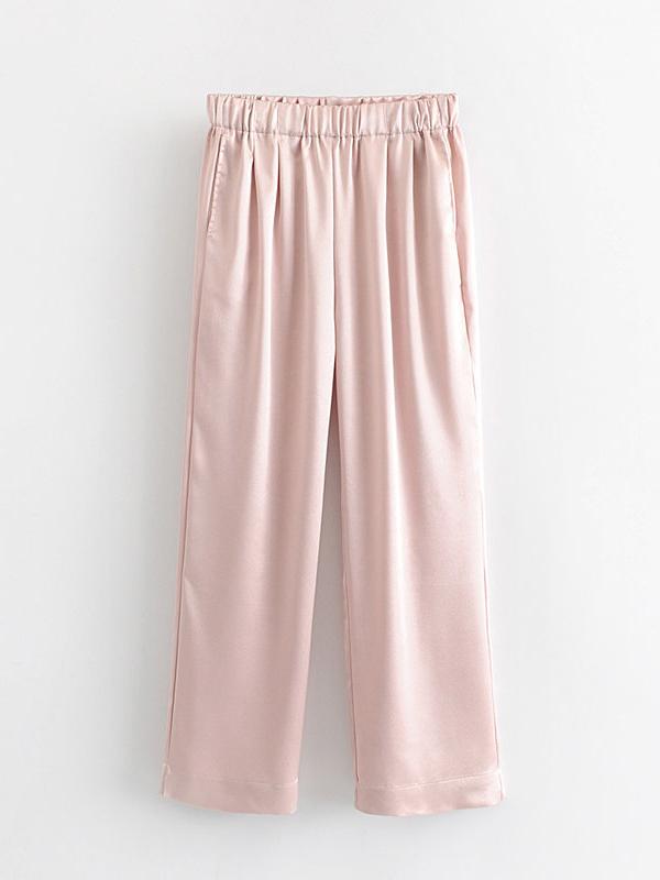 Casual Elastic Solid Color Wide Leg Pants