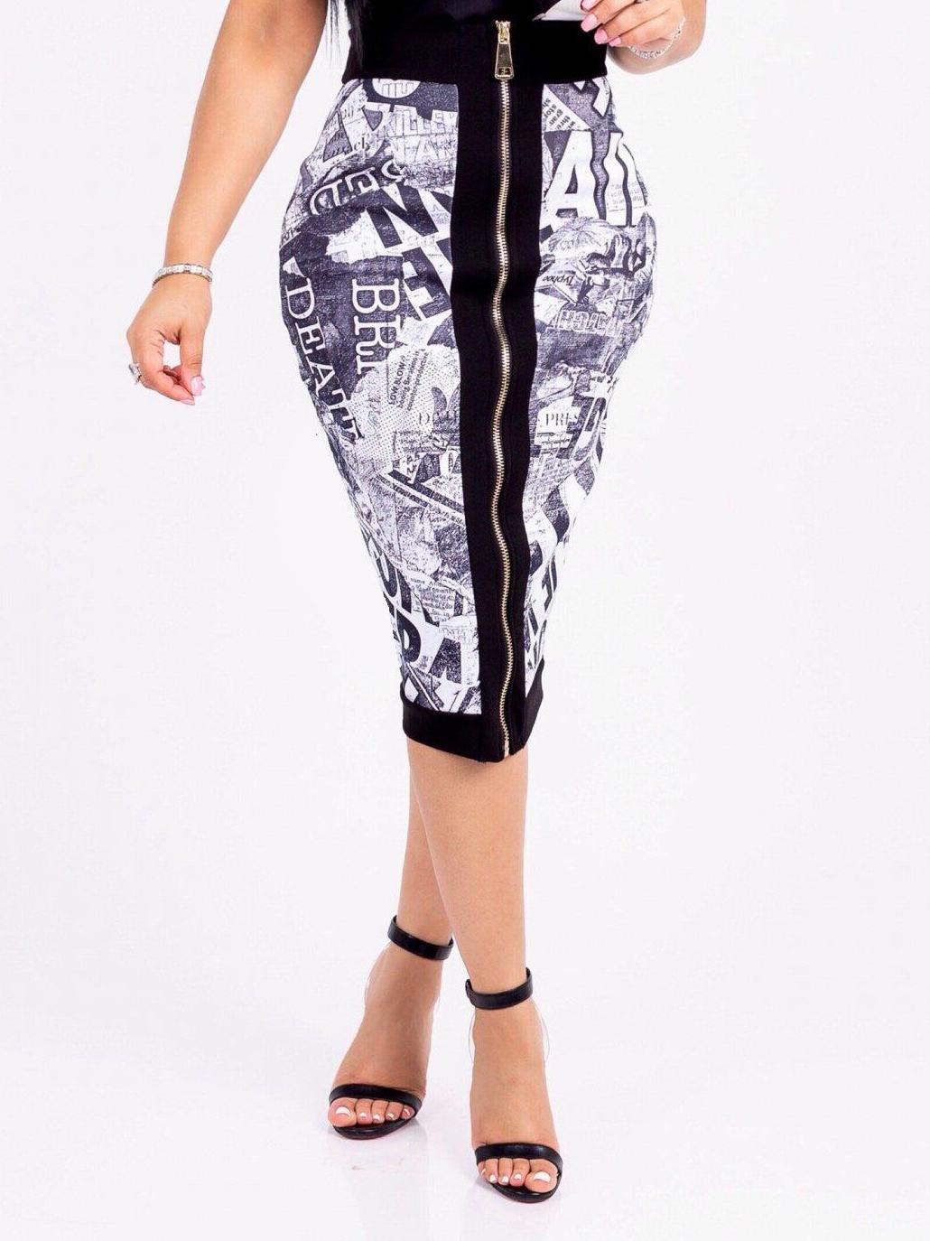 Fashion Digital Printed Zipper Up Pencil Skirt