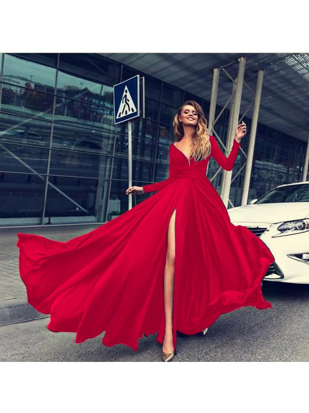 Deep V Neck Solid Split Hem Evening Dress