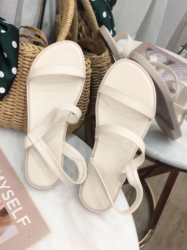 Easy Matching Solid Color Double-Strap Flat Sandals