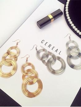 Night Club Metallic Round Chic Alloy Earrings