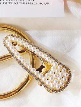 Elegant Rhinestone Pearls Hair Clip