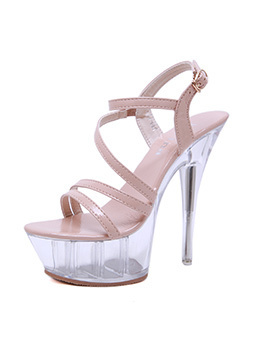 Elegant Buckle Strap Crystal Stiletto Sandals