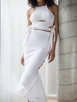 Off Shoulder Tie-Wrap White 2 Piece Skirt Sets