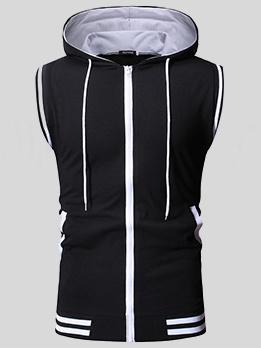 Solid Zipper Up Men Hooded Vest