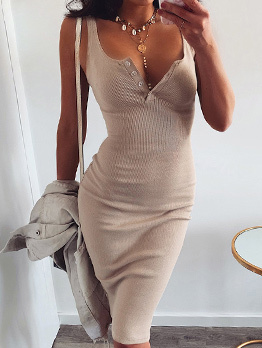U Neck Button Up Ribbed Solid Sleeveless Dress
