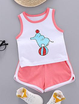 Casual Cute Cartoon Print Baby Sleepwear Sets