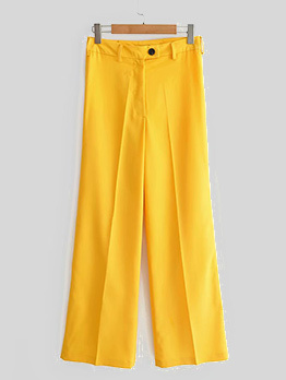 Spring High Waist Yellow Straight Long Pants For Women