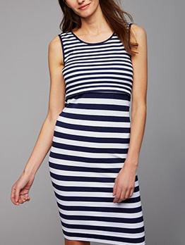 Casual Stripe Patchwork Sleeveless Maternity Dress