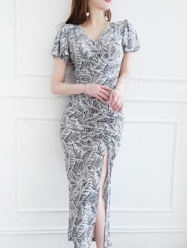 Puff Sleeve Printed Split Hem Maxi Dress