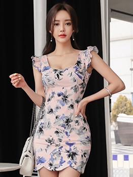 U Neck Floral Sleeveless Bodycon Dress