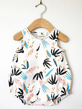 Leaf Printed Baby Girls Sleeveless Onesie