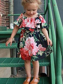 Summer Flower Ruffles Baby Girls Strap Dress