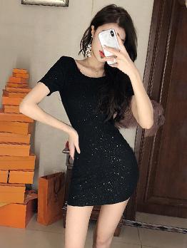 Simple Design Backless Shiny T-Shirt Dress