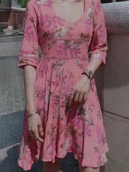 Vacation Flowers Print Long Sleeve Dress