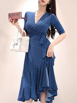 Stylish V Neck Flounce Hem Fitted Dress