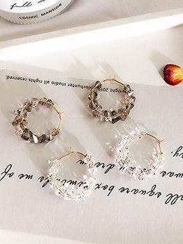 Irregular Crystal Shape Shining Circle Earrings