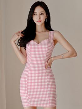 Fashionable Plaid Slim Fitted Sleeveless Dress